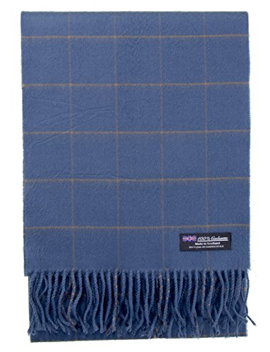2 PLY 100% Cashmere Winter Scarf Elegant Collection Made in Scotland Warm Soft Wool Solid Plaid (Blue Tan 1603)