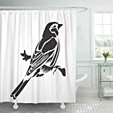 "Emvency 72""x72"" Shower Curtain Waterproof Stencil for Laser Cutting Chaffinch Bird White Black and Sign Emblem Symbol Stamp Home Decor Polyester Fabric Adjustable Hook Set"