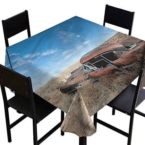 - haommhome Restaurant Tablecloth Cars Old Rusty Auto in New Mexico and Durable W63 xL63 for Kitchen Dinning Tabletop Decoration