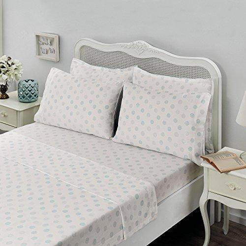 Brielle  Light Blue Circlets, 100% Cotton Sheet Set, 6 Piece Set, Queen ()