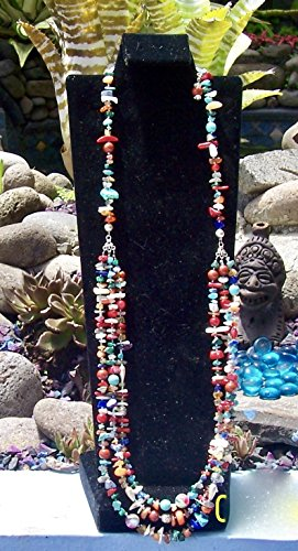 Long three strand colors of the desert Necklace