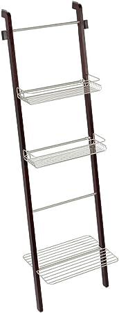 InterDesign Toallero Escalera para Almacenamiento en el Cuarto de Baño, Bambú, Blanco, 30.89x49.1x155.97 cm: Amazon.es: Hogar
