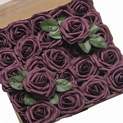 Ling's moment Artificial Flowers Roses 50pcs Dark Purple Fake Roses w/Stem for DIY Wedding Bouquets Centerpieces Arrangements Party Baby Shower Home Decorations