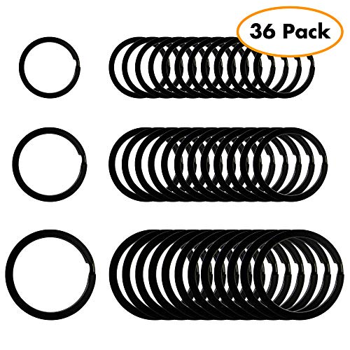 (Flat Key Rings Key Chain Metal Split Ring 36pcs (Round 3/4 Inch, 1 Inch and 1.25 Inch Diameter), for Home Car Keys Organization, Lead Free Electroplated Black)