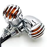TASWK 2pcs Heavy Duty Motorcycle Bullet Turn Signals Bulb Indicators Blinkers Lights for Harley Dyna Davidson (Silver)
