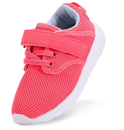 DADAWEN Boy's Girl's Lightweight Breathable Sneakers Strap Athletic Running Shoes Hot Pink US Size 11.5 M Little Kid