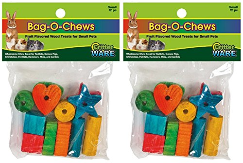 (2 Pack) Bag-O-Chews Fruit Flavored Wood Treats for Small Pets (Small - 12 Ct. Per Pack) -