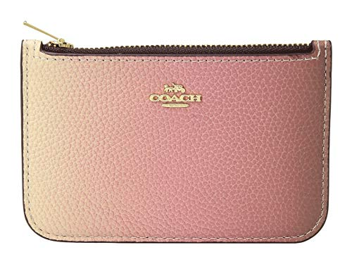 COACH Women's Ombre Zip Card Case Pink Multi/Gold One Size (Gold Ombre)