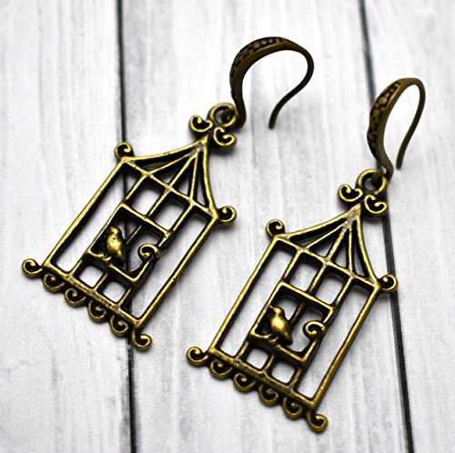Bird Cage Earrings, Brass Antique Jewelry, Canary - Dangling Bird