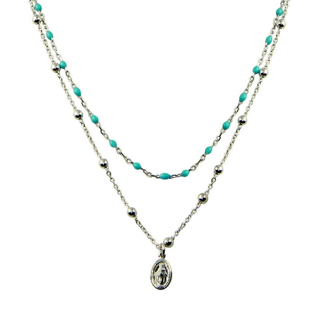 CloseoutWarehouse Simulated Turquoise Double Chain Beaded Medallion Charm Necklace Sterling Silver