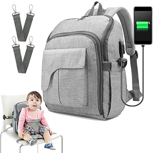 Diaper Bag Travel Backpack Baby Nappy Changing Bag with Baby Seat, Ceekii Multi-Function Waterproof Maternity Nappy Bags and Built-in USB Charging Port (Gray)