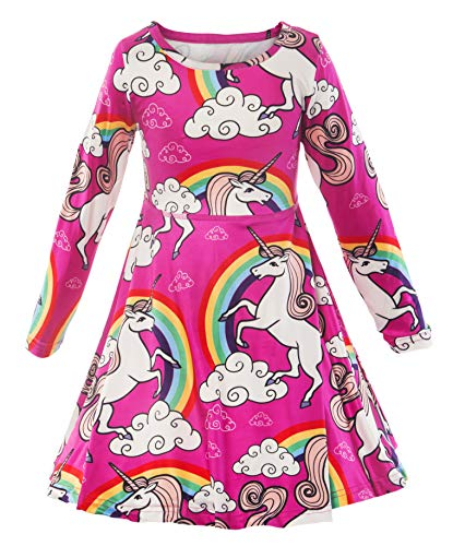 KABETY Girl Unicorn Dress Little Mermaid Dress Christmas Printed Birthday Dress (4-5 Years, Ping Long Sleeve)