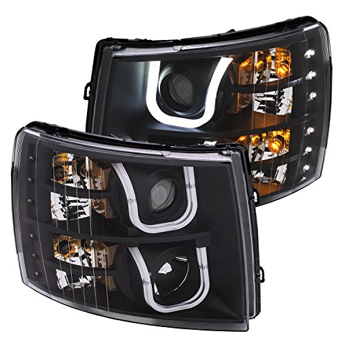 Projector Headlights Set - Anzo USA 111384 Projector Headlight Set w/U-Bar Switchback Black w/Amber Projector Headlight Set w/U-Bar Switchback