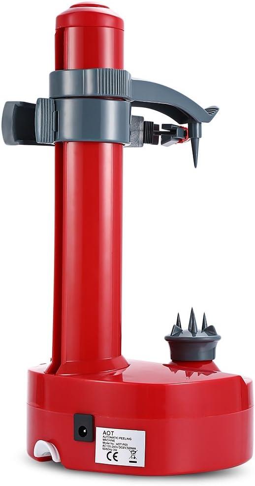 Shumo éplucheur électrique Multifonction pour Fruits et Légumes éplucheur De Pommes Automatique en Acier Inoxydable Machine De Coupeur De Pommes De Terre De Cuisine Rouge