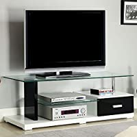 Furniture of America CM5814 Egaleo 55 Glass Top TV Console Stands/Entertainment Centers