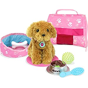 Sophia's Pets for 18 Inch Dolls, Complete Puppy Dog Play Set, Perfect Doll Toy for 18 Inch American Girl Dolls & More! Cuddly Dog, Leash, Carrier, Bed, Food & Play Dog Accessories by Sophia's
