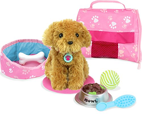 Sophia's Pets for 18 Inch Dolls, Complete Puppy Dog Play Set, Perfect Doll Toy for 18 Inch American Girl Dolls & More! Cuddly Dog, Leash, Carrier, Bed, Food & Play Dog Accessories by Sophia's (Puppy Toys For Kids)