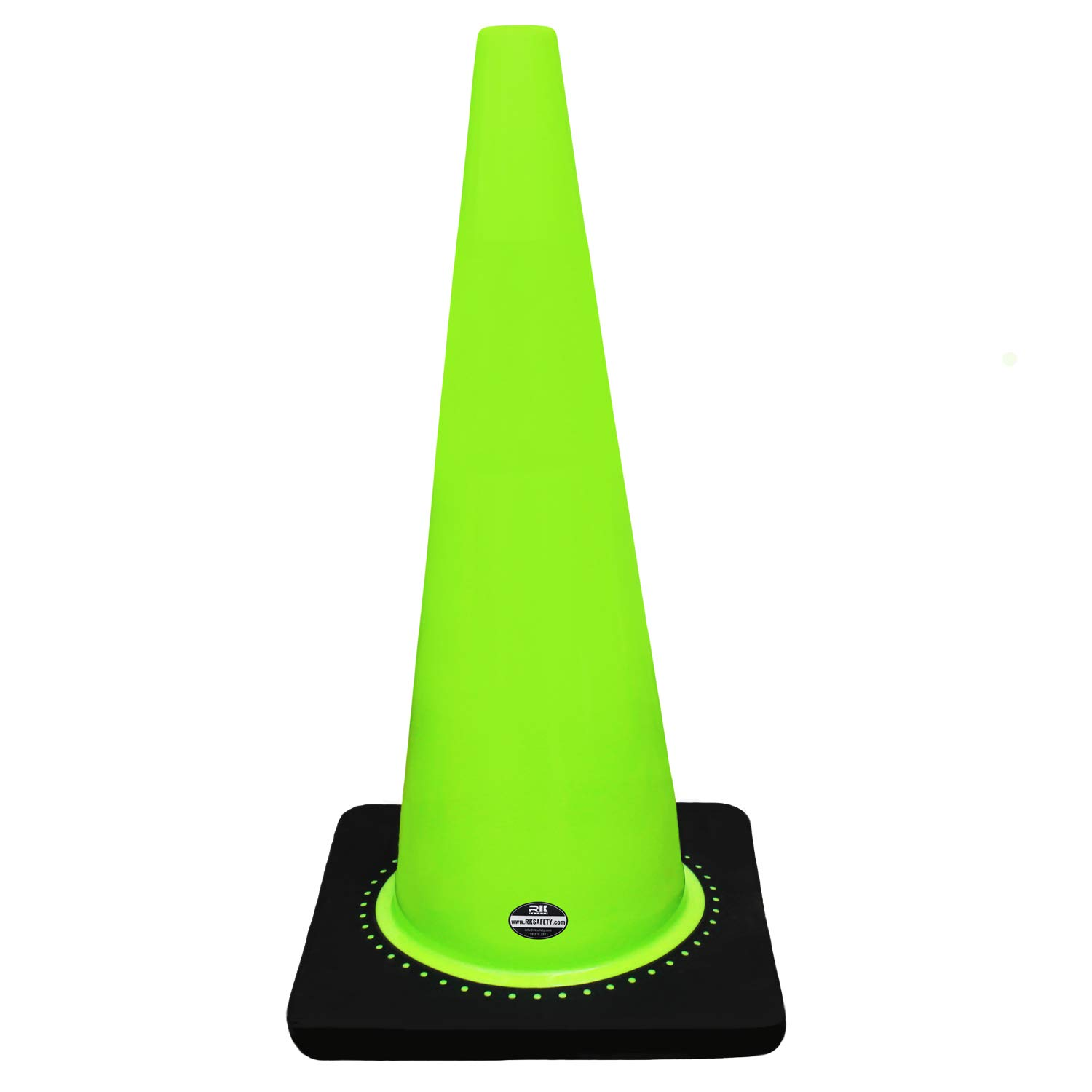 (Set of 8) 28'' RK Lime Safety Traffic PVC Cones with Black Base