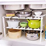 Antoop Expandable 2-Tier Kitchen Under Sink Organizer Plastic and Metal Adjustable Shelving - Cleaning Supplies Shelf