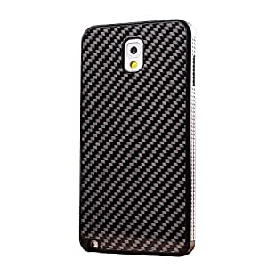 Generic Designed for Samsung Galaxy NOTE3 Carbon Fiber Case Gold Newest Metal Aluminum Carbon Fiber Protective Case Cover for Galaxy NOTE3 N9000 (Black & Black)