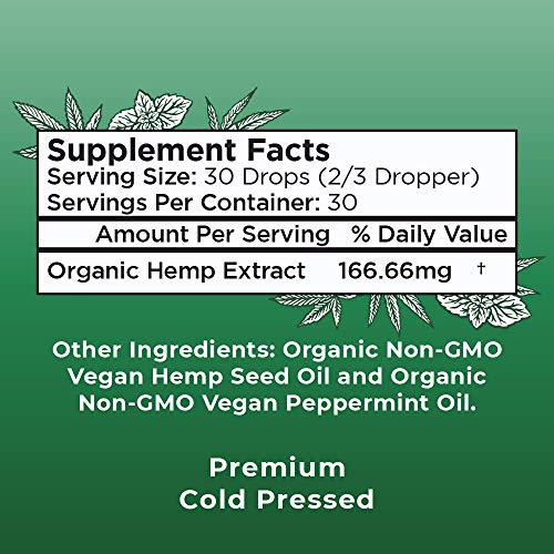 51hkVeR98pL - (2 Pack) Organic Pure Hemp Oil Extract 5000mg by MaryRuth's for Pain & Stress Relief - Powerful for Ingestible & Topical Use - Non-GMO - Vegan - Plant Based - Sugar-Free - Peppermint - 1 oz (2 Pack)