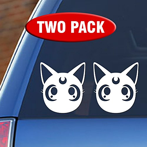 Make Sailor Costumes (Sailor Moon Luna - Two Pack of Vinyl Decal Sticker - Choice of Colors)