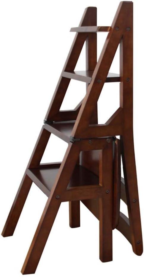 AJS Escalera Plegable De Madera De 4 Pasos | Taburete Plegable Retro | Escalera De Seguridad Herramientas De Jardinería Para Adultos En El Hogar El Heces De Bricolaje Puede Acomodar Una Escalera