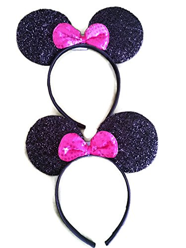 Mickey / Minnie Mouse ears headband for boys girls, parties, Disneyland, + more (Sparkling Black with Pink Bow Lighting (2 (Mickey Mouse Ears Headband Bulk)