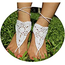 AlexStudio Yoga Foot Chain Barefoot Sandals Beach Shoes Foot Jewelry Chain Wedding Bridal Knit Anklet