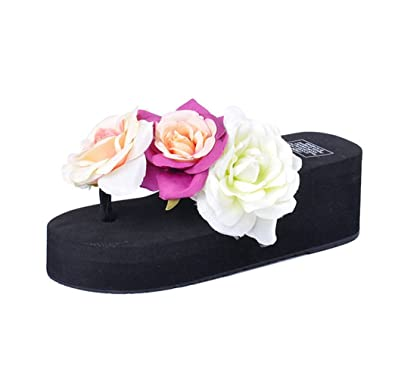 01e98143a560c U-MAC Platform Wedge Flip-Flops Sandals Womens Fashion Flowers Slipper  Summer Thongs