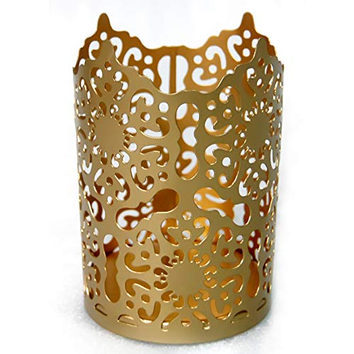 Esca di Luce Decorative Votive Candle Holders Set for Table, Centerpiece, Pillar, Tea Lights, Wedding, Aromatherapy and Party (Gold/Motif, 6 Inches) ()