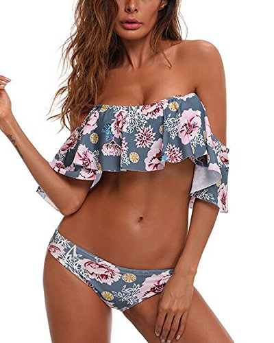 Briefs Bikini Girls (Tempt Me Women Two Pieces Clear Sexy Floral Print Crop Ruffled Off-Shoulder Bikini (Medium, Grey))