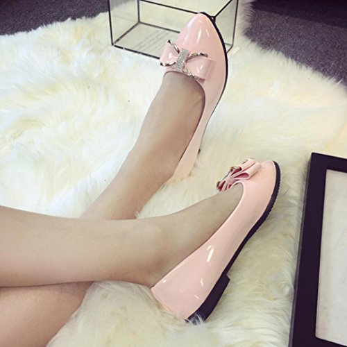 Sikye Round Toe Ladise Shoes Women Casual Bowknot Rhinestone Low Heel Flat Shoes Pump Pink iZcHBjEF