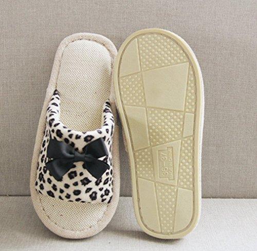 Blubi Womens Summer Leopard Linen Comfortable Ladies Slippers Bedroom Slippers Yellow dEMKBUuDIC