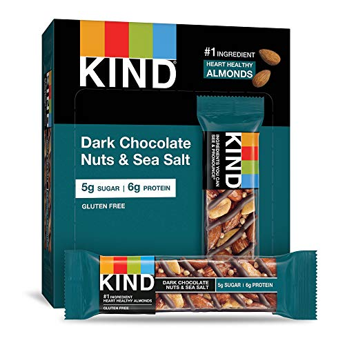 KIND Bars, Dark Chocolate Nuts & Sea Salt, Gluten Free, Low Sugar, 1.4 Ounce, 12 Count