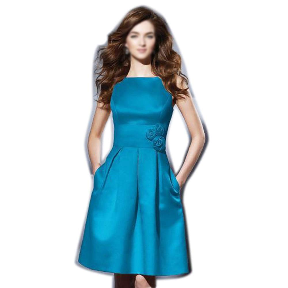 bluee Sylviaan YY6 Women Round Neck Sleeveless Slim Short Evening Cocktail Dress