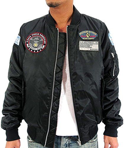 Future Bullet Men's MA-1 Bomber Jacket with Patches Black Medium (Bomber Patch)