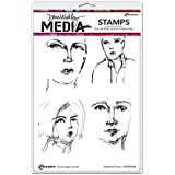 "Dina Wakley Media Cling Stamps 6""X9""-Sketched Faces"