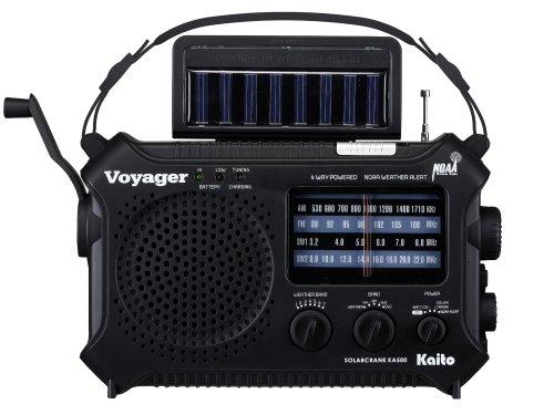Kaito-KA500-5-way-Powered-Emergency-AMFMSW-NOAA-Weather-Alert-Radio-with-SolarWind-UpDynamo-CrankFlashlight-and-Reading-Lamp-Cellphone-ChargerColor-Black