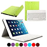 CoastaCloud iPad Air 1 Bluetooth Keyboard Case Ultra Slim Folding Leather Folio Smart Case Stand Cover with Removable Wireless Bluetooth Keyboard for Apple iPad Air 1st (Green)