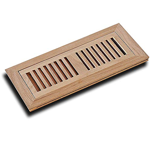 WELLAND 2 Inch x 14 Inch Red Oak Wood Vent Cover Floor Register Louvered with Frame Flush Mount, Unfinished - Flat Floor Vent
