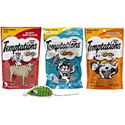 Temptations Low Calorie Tartar Control Cat Treats 3 Flavor Variety with Toy Bundle, 1 each: Hearty Beef, Tempting Tuna, and Tantalizing Turkey, 3 Ounces ea.