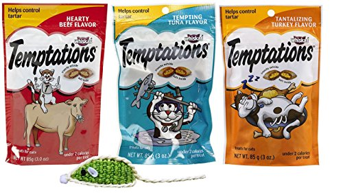 Cheap Temptations Low Calorie Tartar Control Cat Treats 3 Flavor Variety with Toy Bundle, 1 each: Hearty Beef, Tempting Tuna, and Tantalizing Turkey, 3 Ounces ea.