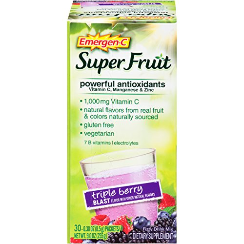 Emergen-C Super Fruit (30 Count, Triple Berry Blast Flavor) Dietary Supplementwith 1000 mg Vitamin C, 0.30 Ounce Packets, Gluten Free