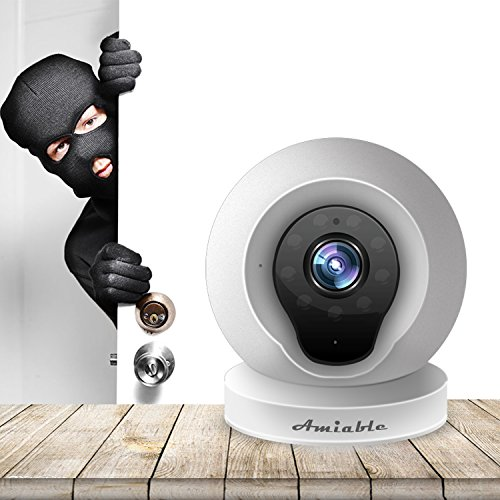 Amiable Smart WiFi IP Camera 720P Wireless Network Security Surveillance Video Camera System Nanny/Baby Monitor with Remote Monitoring HD Webcam for Android/iOS/iPhone(White) by AMIABLE (Image #1)