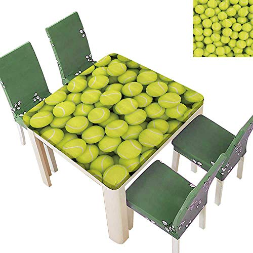 (Printsonne Fitted Polyester Tablecloth Tennis Balls Hobby Leisure Competitive Match Lifestyle Washable for Tablecloth 52 x 52 Inch)