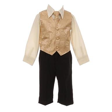 fb6aa7fd0 Baby Boys Gold Paisley Pattern Neck Tie Vest Shirt Pant 4 Pc Suit 12M