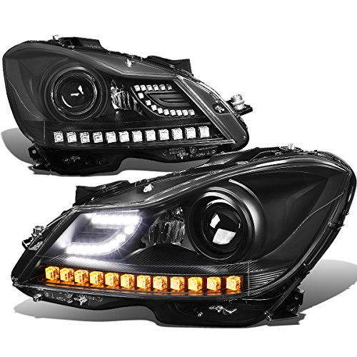 For Mercedes Benz C-Class W204 Black Housing Projector Headlight w/3D Crystal Amber LED Signal - Pair