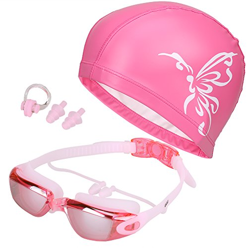 Color Prescription Costumes Contacts (5 in 1 Swimming Goggles + Swim Cap + Nose Clip + Ear Plugs + Case, Waterproof, No Leaking, Anti-Fog, UV Protection, Free Protection Case, Comfortable Fit for Adult Men Women Youth)