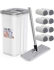 Mop and Bucket Set for Floor Cleaning, Aifacay Microfiber Floor Mop with 8 Reusable Refills Stainless Steel Handle Household Mop Buckets for Hardwood Tile Laminate Floors